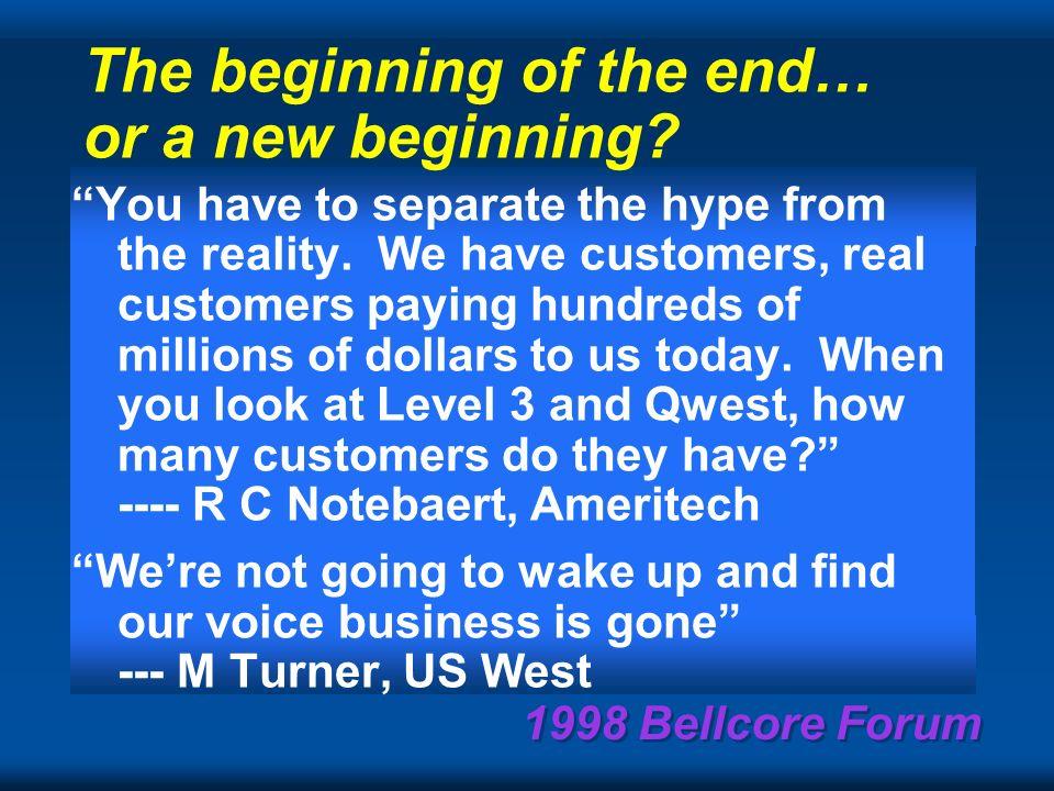 1998 Bellcore Forum Computer vs Telecom Proc. & mem 2x/1.5 yrAccess B/W 2x/4yr Trunk BW 2x/ 9 mos.