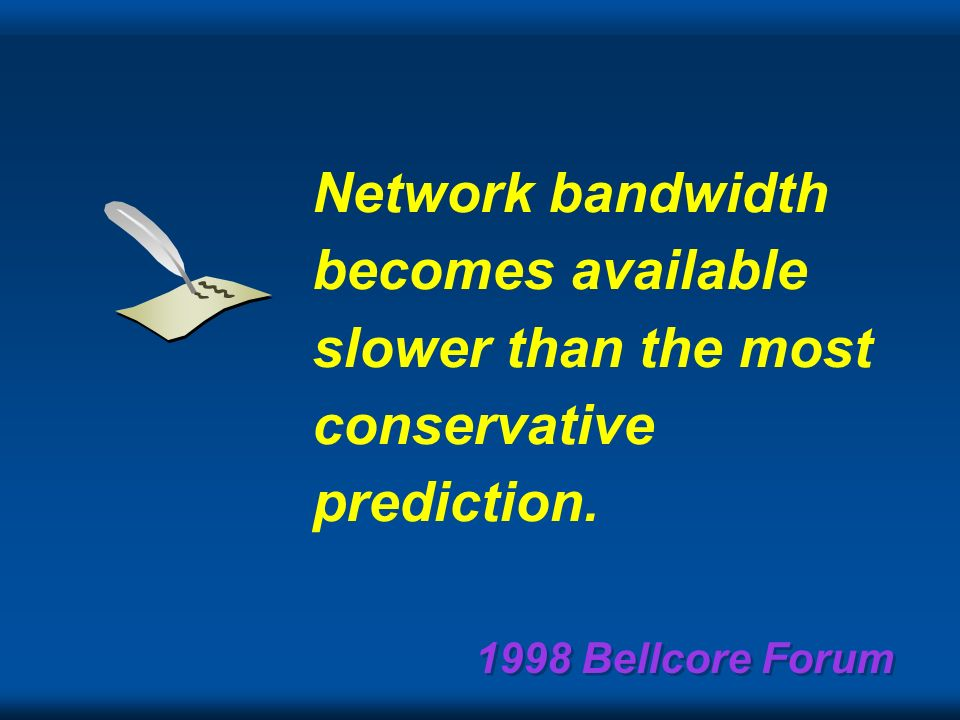 1998 Bellcore Forum ISDN will be ubiquitous by 1985. Irwin Dorros, VP Long Lines ATT, 1981 Unfortunately were stuck with ISDN speed using POTS for the