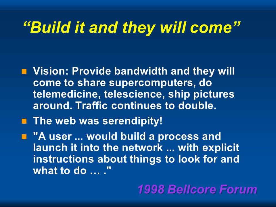 1998 Bellcore Forum Always bet against the optimistic researcher.
