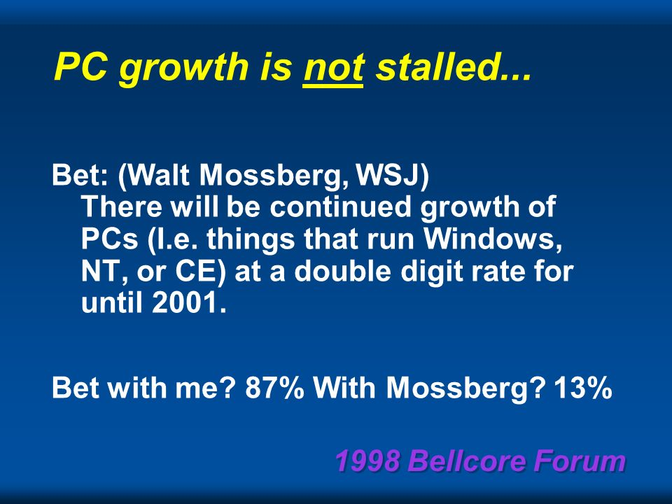 1998 Bellcore Forum Some of my recent bets! Would you bet with me