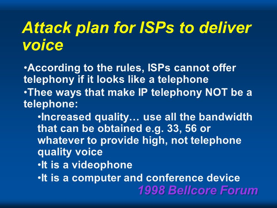 1998 Bellcore Forum Telephone Quality Voice is an Oxymoron.