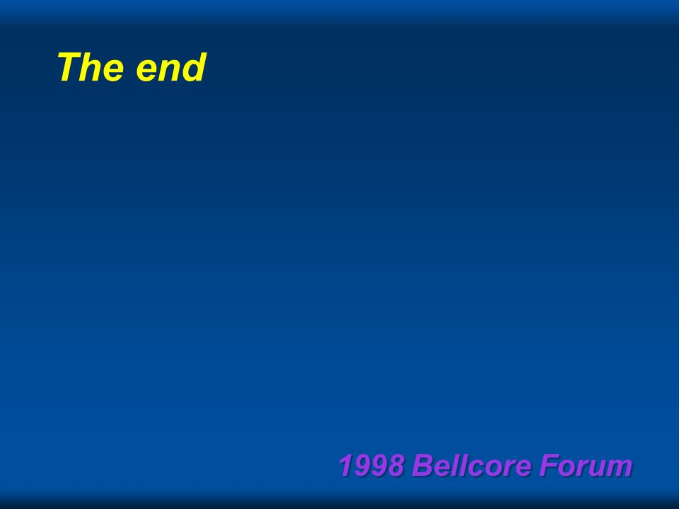 1998 Bellcore Forum FCCs 4/10/98 Report to Congress: How long will it remain.