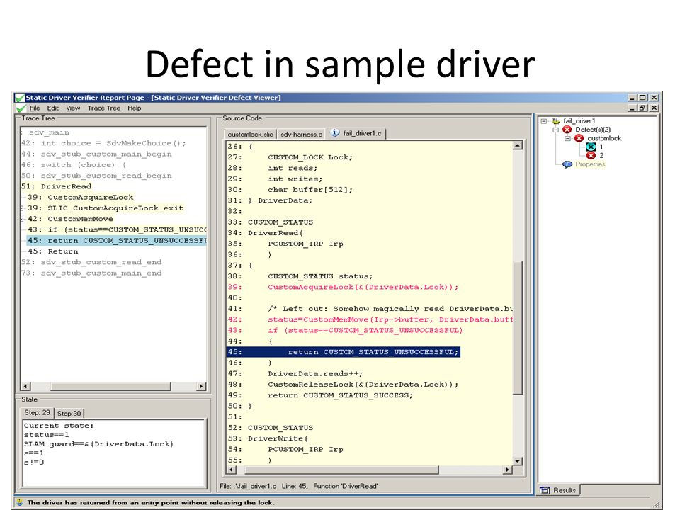 Defect in sample driver