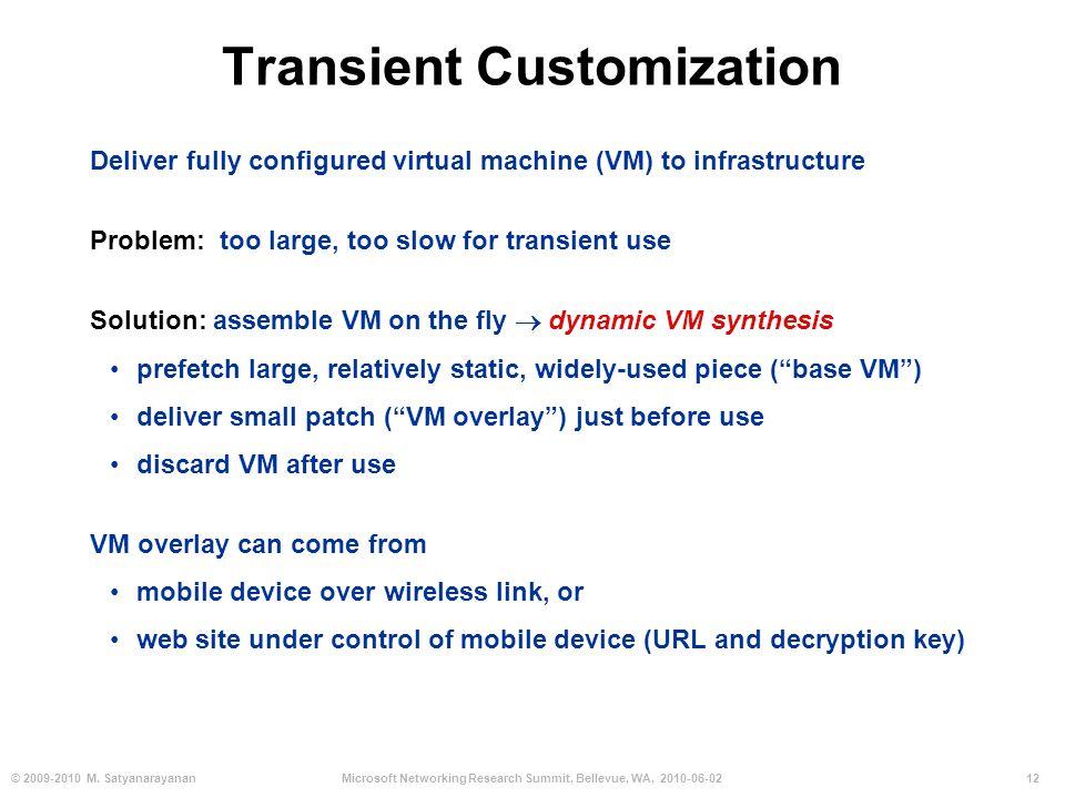 12© 2009-2010 M. SatyanarayananMicrosoft Networking Research Summit, Bellevue, WA, 2010-06-02 Transient Customization Deliver fully configured virtual