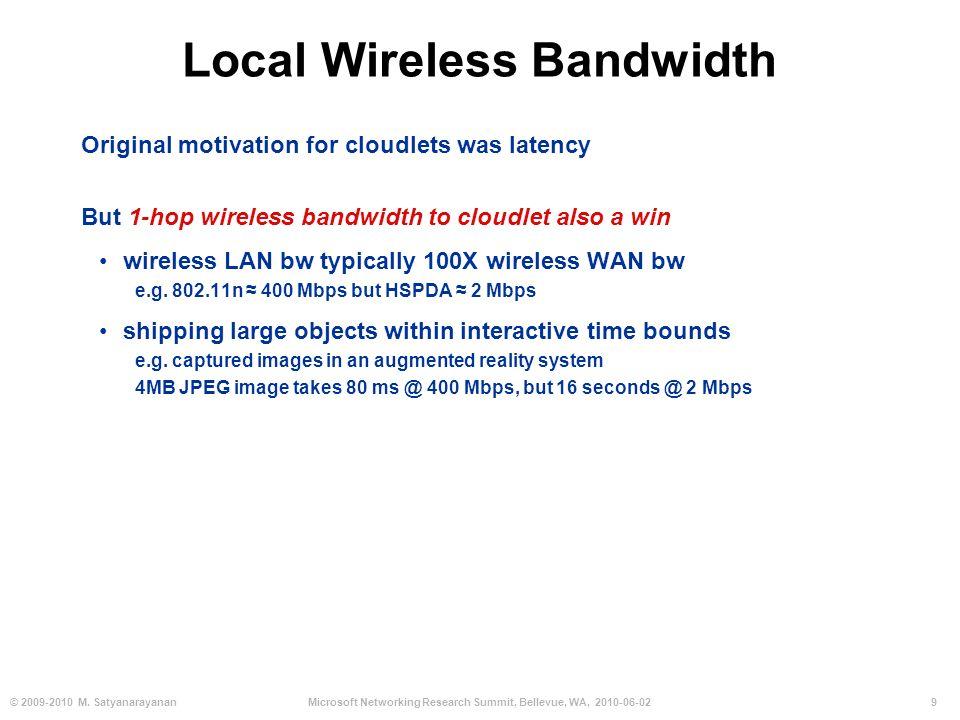 9© 2009-2010 M. SatyanarayananMicrosoft Networking Research Summit, Bellevue, WA, 2010-06-02 Local Wireless Bandwidth Original motivation for cloudlet