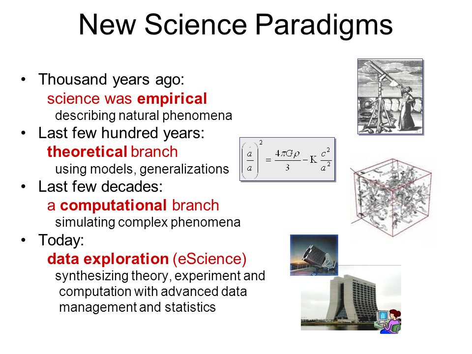 New Science Paradigms Thousand years ago: science was empirical describing natural phenomena Last few hundred years: theoretical branch using models,