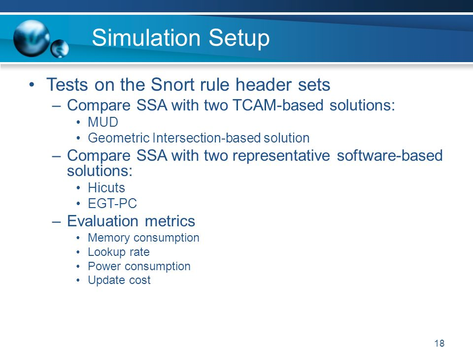 18 Simulation Setup Tests on the Snort rule header sets –Compare SSA with two TCAM-based solutions: MUD Geometric Intersection-based solution –Compare SSA with two representative software-based solutions: Hicuts EGT-PC –Evaluation metrics Memory consumption Lookup rate Power consumption Update cost