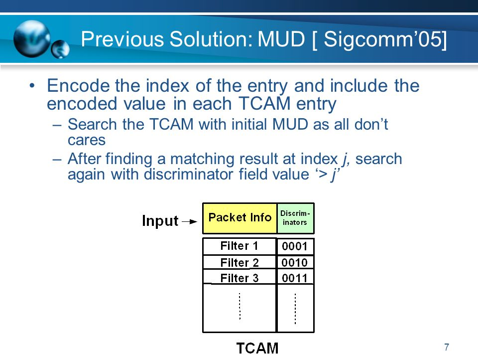 7 Previous Solution: MUD [ Sigcomm05] Encode the index of the entry and include the encoded value in each TCAM entry –Search the TCAM with initial MUD as all dont cares –After finding a matching result at index j, search again with discriminator field value > j