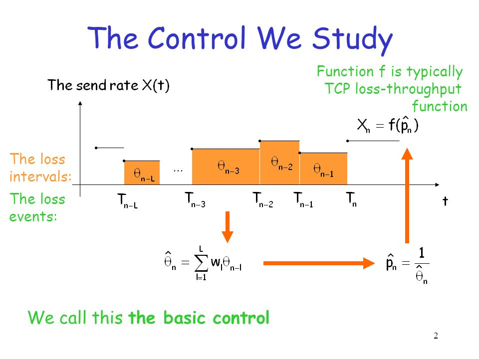 2 The Control We Study We call this the basic control The loss events: The loss intervals: Function f is typically TCP loss-throughput function