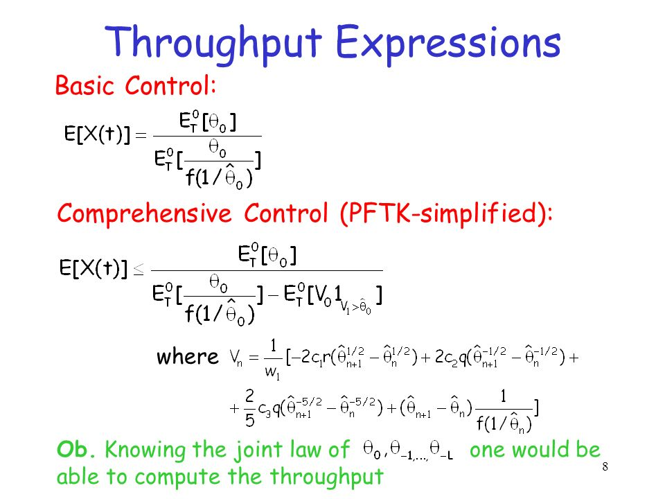 28 o(P1) We showed when we expect to have either conservative or non-conservative control oWe explain the throughput-drop encountered empirically elsewhere oWe demonstrate a realistic control which would be non- conservative o(P2) Expect loss-event ratio of equation-based rate control to be larger than TCP would see o(P3) TCP may deviate from PFTK formula oIt is important to distinguish the three sub- problems and check them separately.