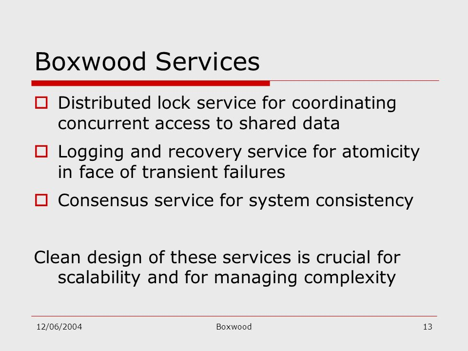 12/06/2004Boxwood13 Boxwood Services Distributed lock service for coordinating concurrent access to shared data Logging and recovery service for atomi