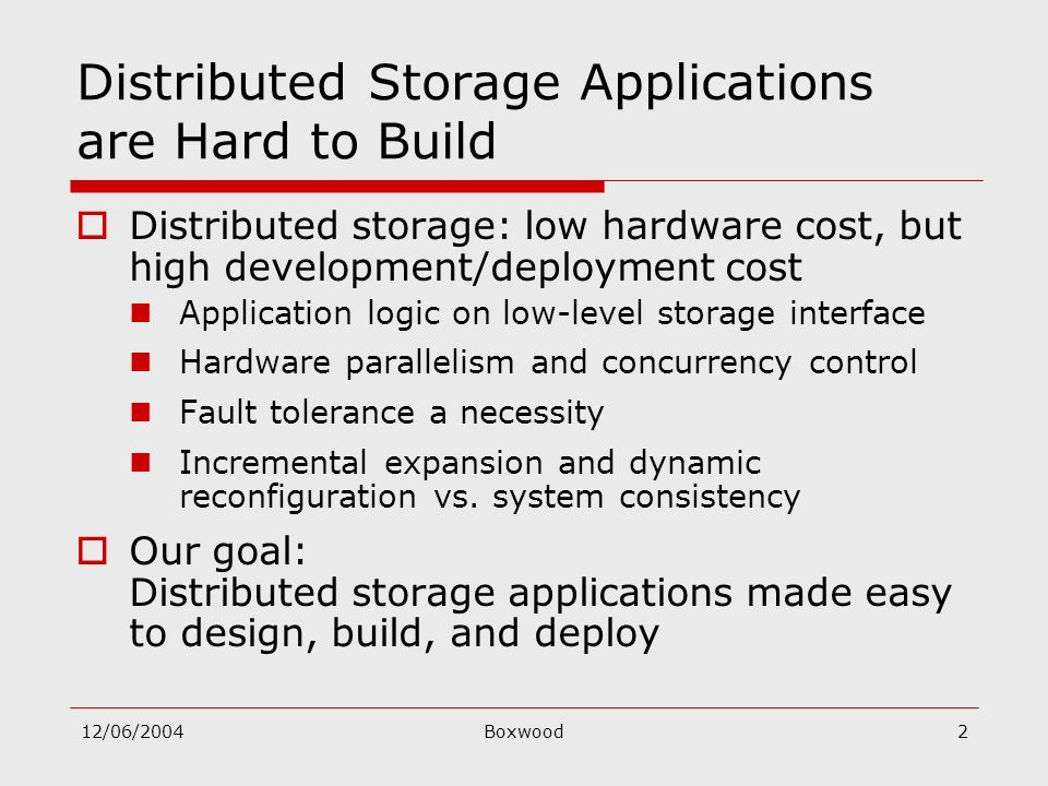 12/06/2004Boxwood2 Distributed Storage Applications are Hard to Build Distributed storage: low hardware cost, but high development/deployment cost App
