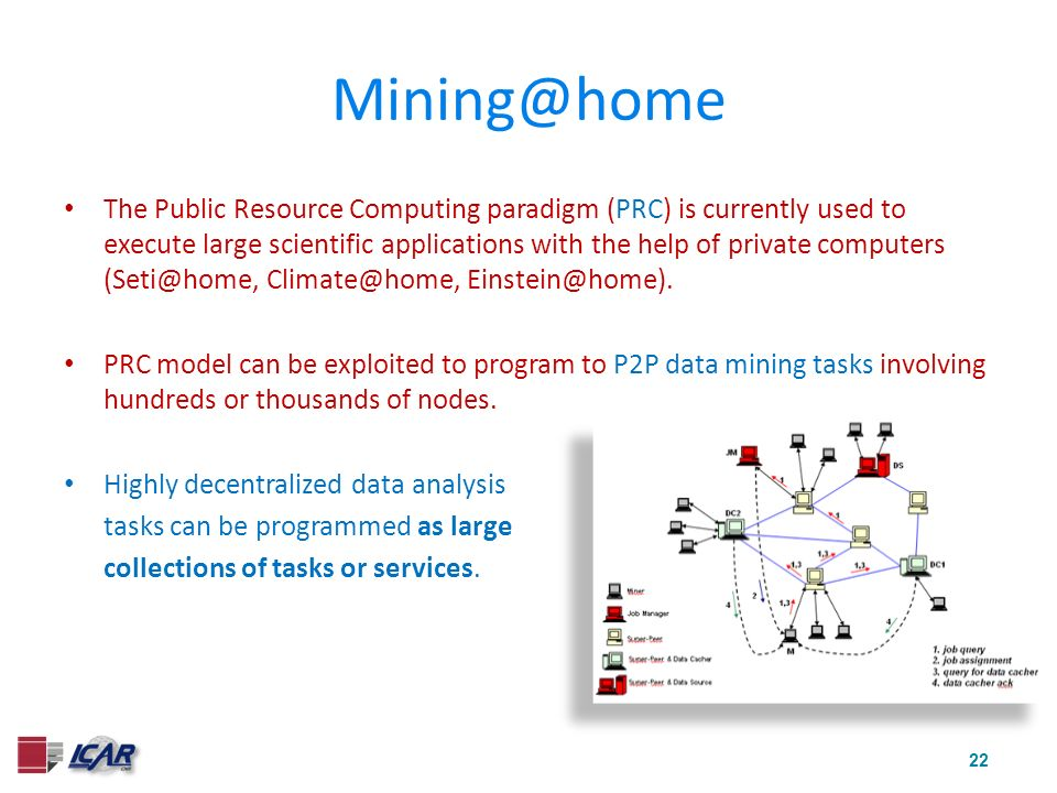 22 Mining@home The Public Resource Computing paradigm (PRC) is currently used to execute large scientific applications with the help of private computers (Seti@home, Climate@home, Einstein@home).