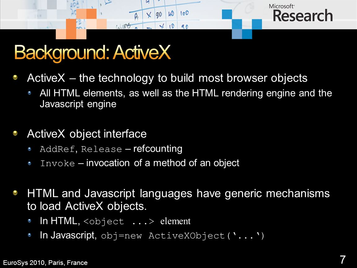 7 ActiveX – the technology to build most browser objects All HTML elements, as well as the HTML rendering engine and the Javascript engine ActiveX object interface AddRef, Release – refcounting Invoke – invocation of a method of an object HTML and Javascript languages have generic mechanisms to load ActiveX objects.