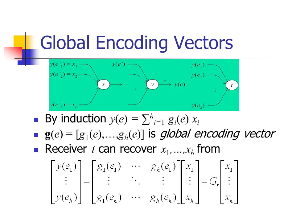 Global Encoding Vectors By induction y(e) = h i=1 g i (e) x i g(e) = [g 1 (e),…,g h (e)] is global encoding vector Receiver t can recover x 1,…,x h fr