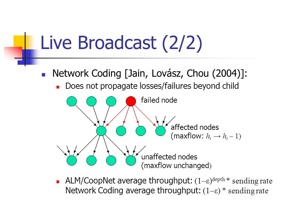 Live Broadcast (2/2) Network Coding [Jain, Lovász, Chou (2004)]: Does not propagate losses/failures beyond child ALM/CoopNet average throughput: (1–ε) depth * sending rate Network Coding average throughput: (1–ε) * sending rate failed node affected nodes (maxflow: h t h t – 1) unaffected nodes (maxflow unchanged )