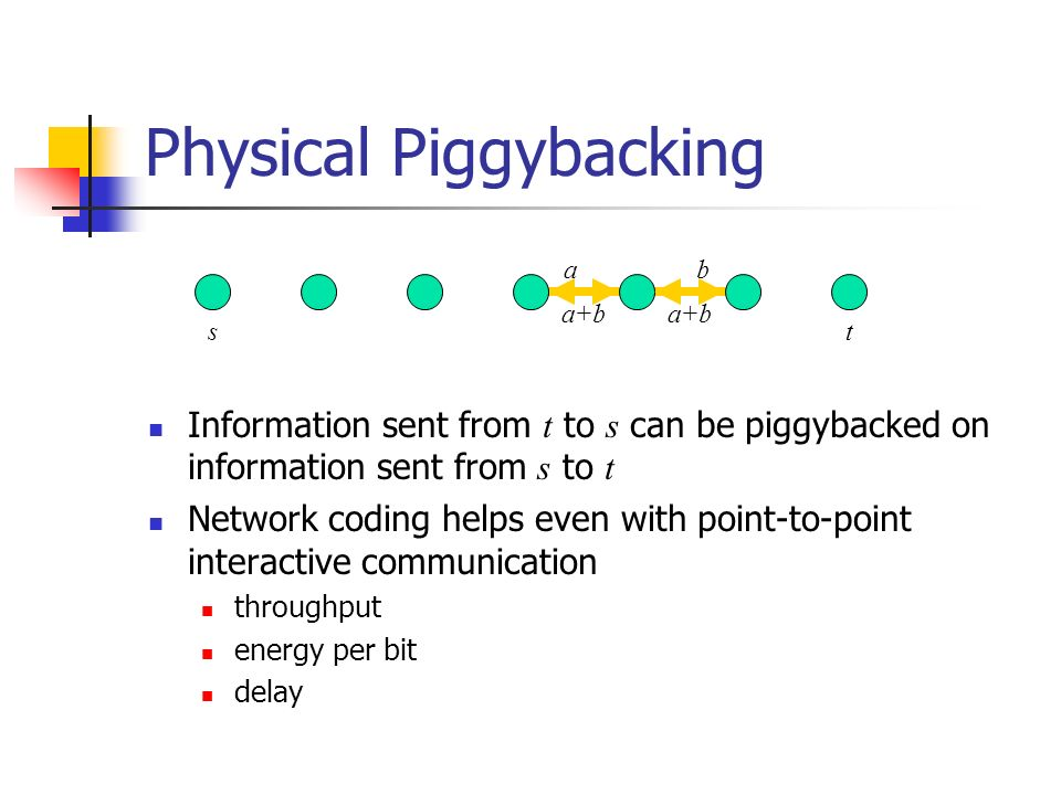 a+b Physical Piggybacking Information sent from t to s can be piggybacked on information sent from s to t Network coding helps even with point-to-poin