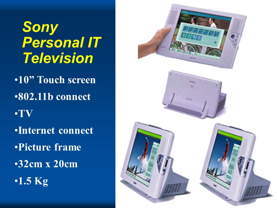 Copyright Gordon Bell Sony Personal IT Television 10 Touch screen b connect TV Internet connect Picture frame 32cm x 20cm 1.5 Kg