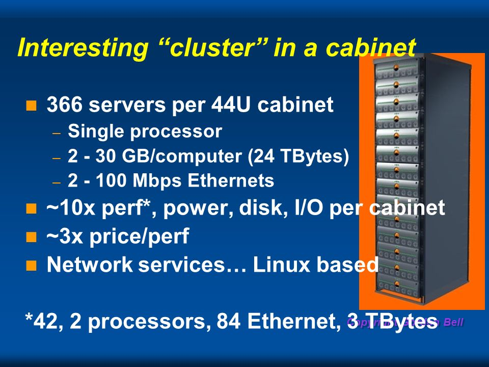Copyright Gordon Bell Interesting cluster in a cabinet 366 servers per 44U cabinet – Single processor – GB/computer (24 TBytes) – Mbps Ethernets ~10x perf*, power, disk, I/O per cabinet ~3x price/perf Network services… Linux based *42, 2 processors, 84 Ethernet, 3 TBytes