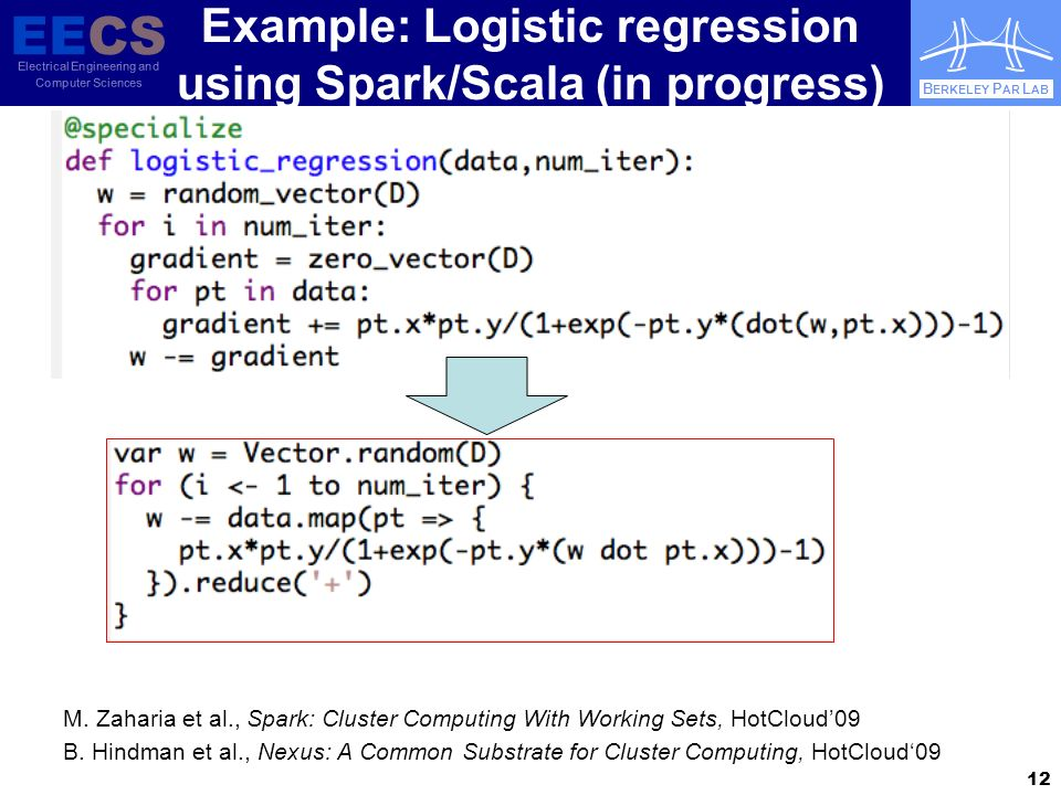 EECS Electrical Engineering and Computer Sciences B ERKELEY P AR L AB Example: Logistic regression using Spark/Scala (in progress) M.