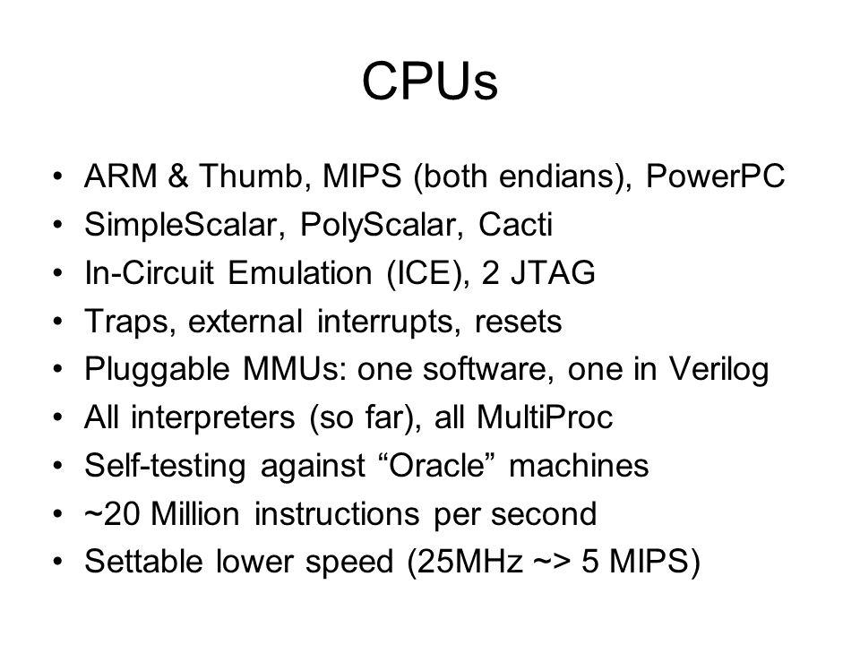 CPUs ARM & Thumb, MIPS (both endians), PowerPC SimpleScalar, PolyScalar, Cacti In-Circuit Emulation (ICE), 2 JTAG Traps, external interrupts, resets P