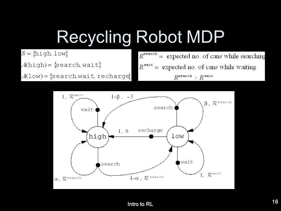 Intro to RL 16 Recycling Robot MDP