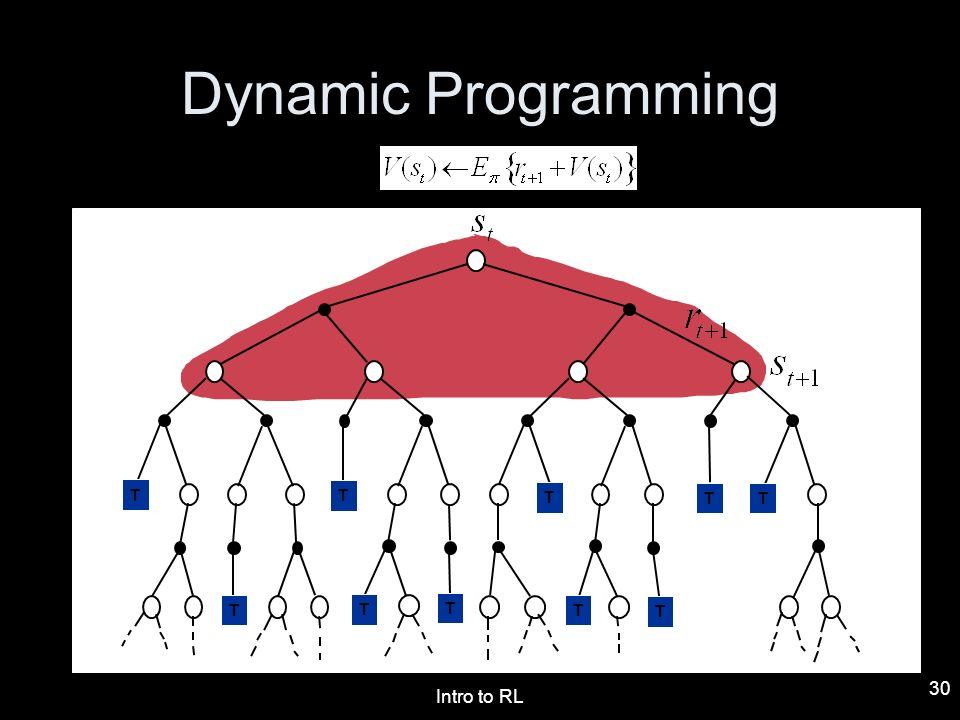 Intro to RL 30 Dynamic Programming T T T TTTTTTTTTT