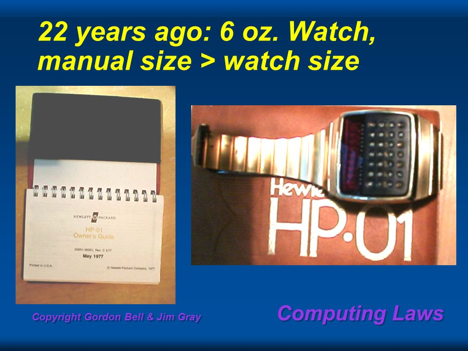 Copyright Gordon Bell & Jim Gray Computing Laws 22 years ago: 6 oz. Watch, manual size > watch size