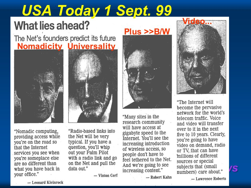 Copyright Gordon Bell & Jim Gray Computing Laws Nomadicity Video... Plus >>B/W Universality USA Today 1 Sept. 99