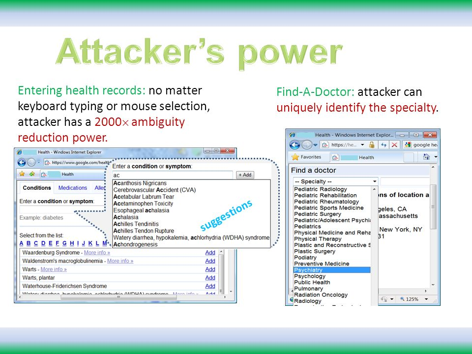 tabs suggestions Entering health records: no matter keyboard typing or mouse selection, attacker has a 2000 ambiguity reduction power.