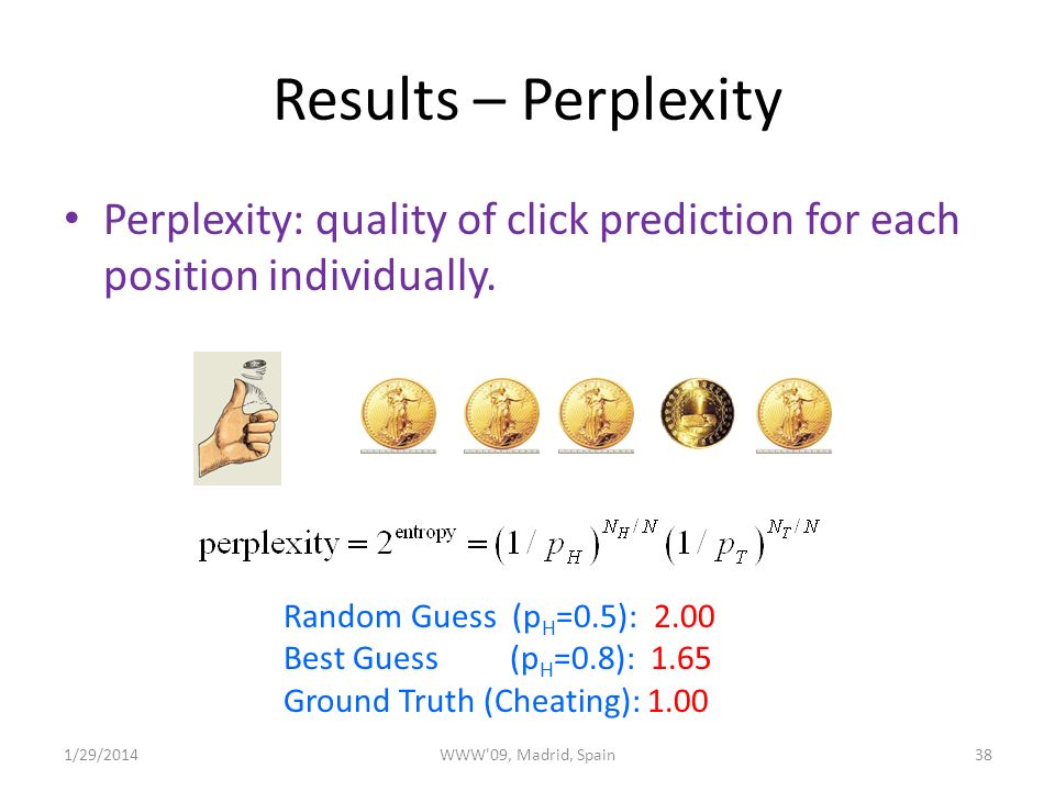Results – Perplexity Perplexity: quality of click prediction for each position individually.