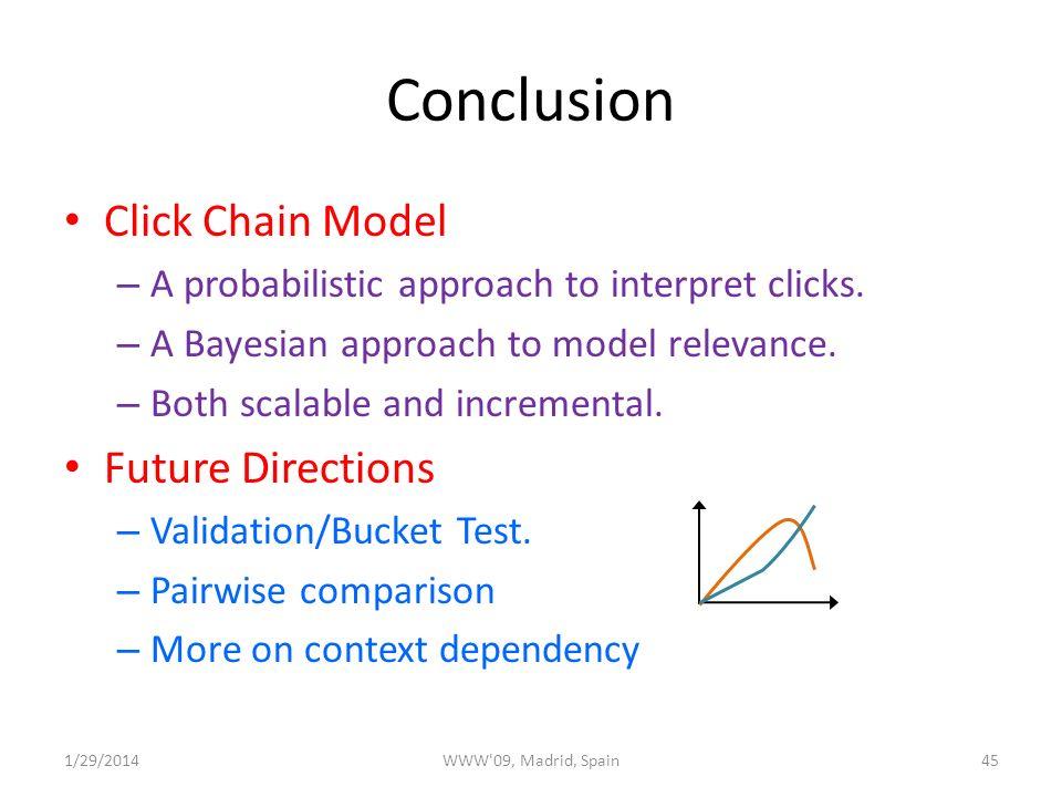 Conclusion Click Chain Model – A probabilistic approach to interpret clicks.