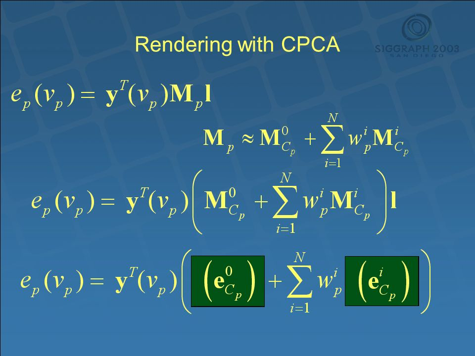 Rendering with CPCA
