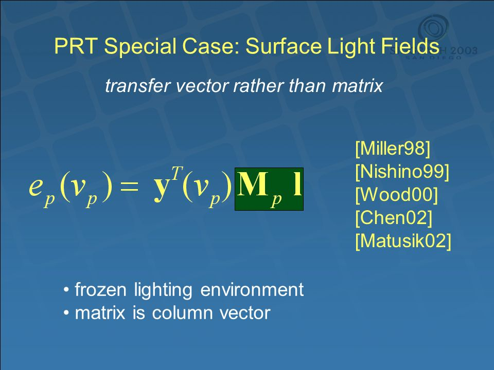 PRT Special Case: Surface Light Fields transfer vector rather than matrix frozen lighting environment matrix is column vector [Miller98] [Nishino99] [Wood00] [Chen02] [Matusik02]