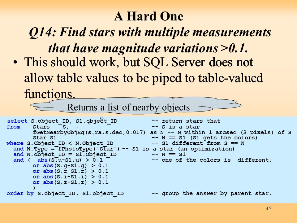 45 A Hard One Q14: Find stars with multiple measurements that have magnitude variations >0.1. This should work, but SQL Server does not allow table va