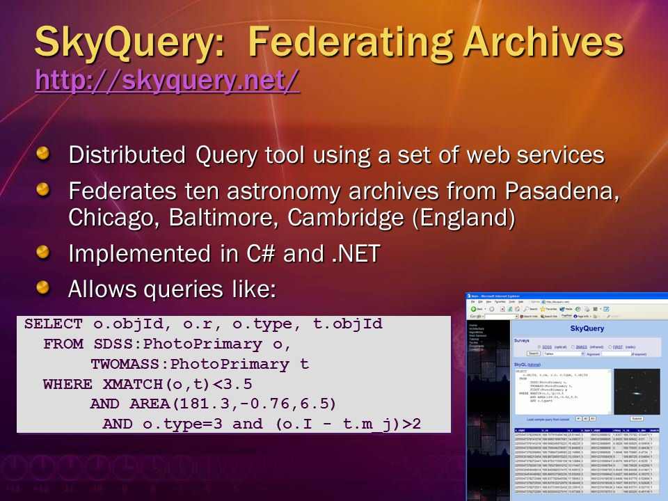 SkyQuery: Federating Archives http://skyquery.net/ http://skyquery.net/ Distributed Query tool using a set of web services Federates ten astronomy arc