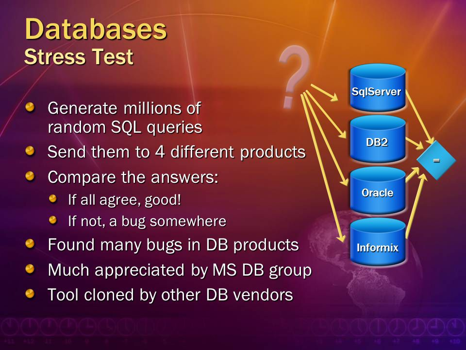 Databases Stress Test Generate millions of random SQL queries Send them to 4 different products Compare the answers: If all agree, good! If not, a bug