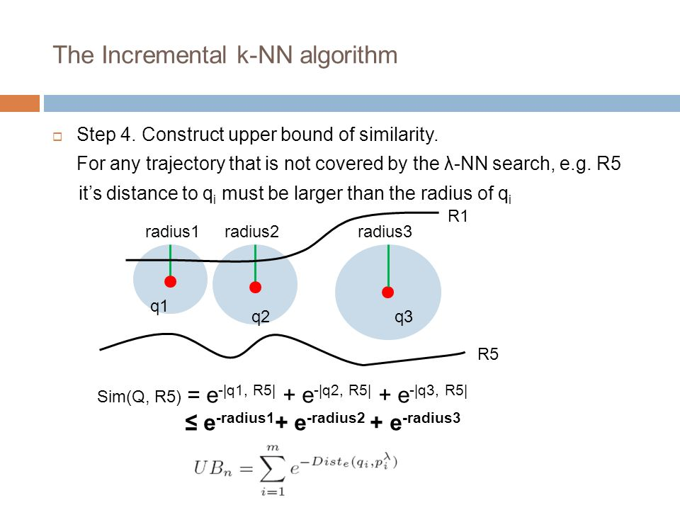 The Incremental k-NN algorithm Step 4. Construct upper bound of similarity.