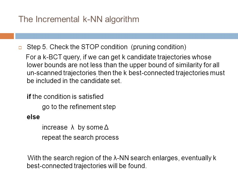 The Incremental k-NN algorithm Step 5.