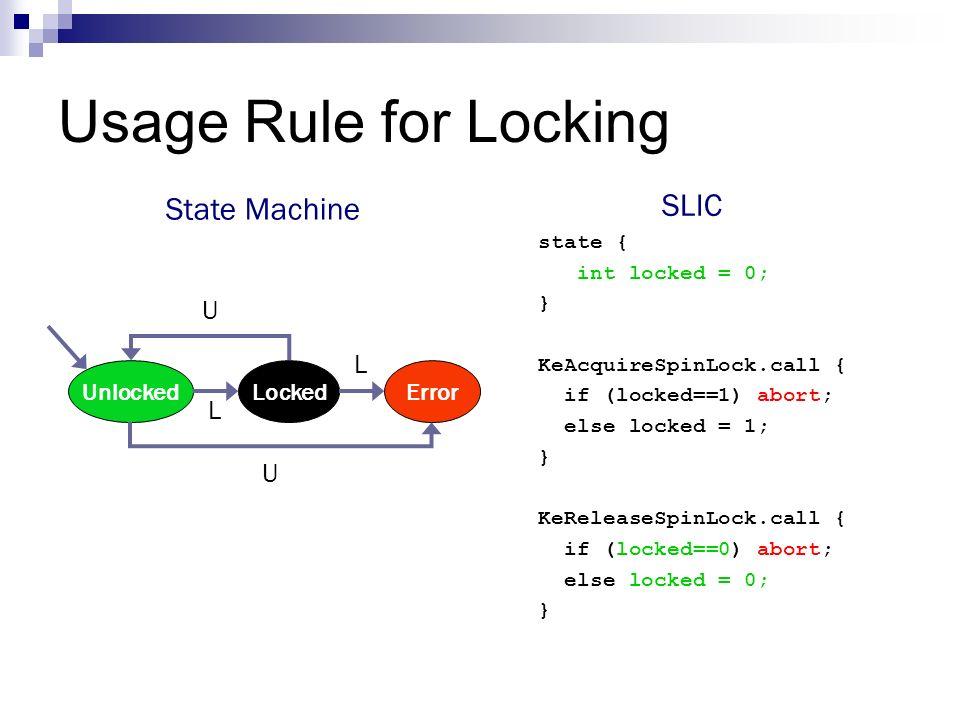 Usage Rule for Locking UnlockedLockedError U L L U state { int locked = 0; } KeAcquireSpinLock.call { if (locked==1) abort; else locked = 1; } KeRelea