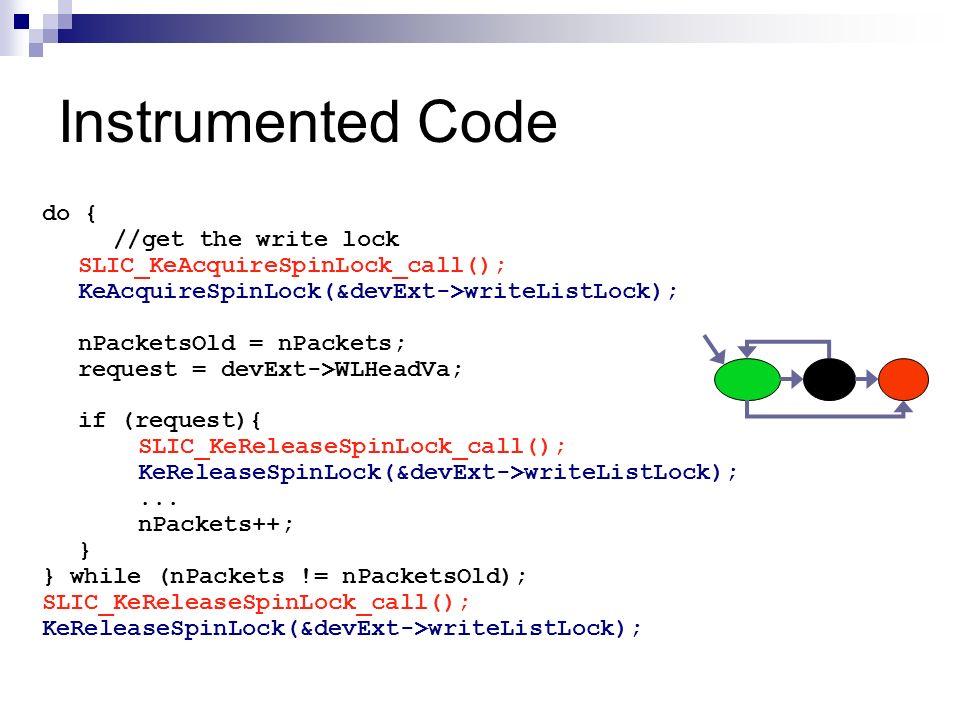 Instrumented Code do { //get the write lock SLIC_KeAcquireSpinLock_call(); KeAcquireSpinLock(&devExt->writeListLock); nPacketsOld = nPackets; request