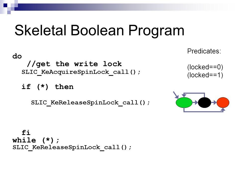 Skeletal Boolean Program do //get the write lock SLIC_KeAcquireSpinLock_call(); if (*) then SLIC_KeReleaseSpinLock_call(); fi while (*); SLIC_KeReleas