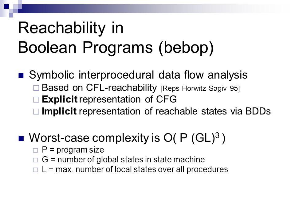 Reachability in Boolean Programs (bebop) Symbolic interprocedural data flow analysis Based on CFL-reachability [Reps-Horwitz-Sagiv 95] Explicit repres
