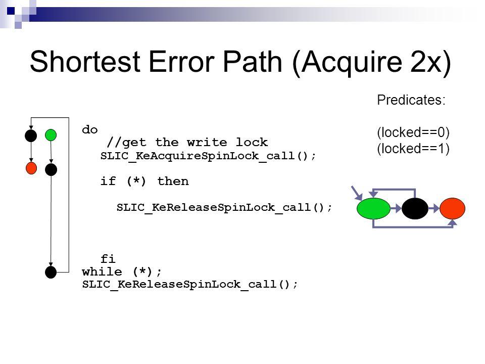 Shortest Error Path (Acquire 2x) do //get the write lock SLIC_KeAcquireSpinLock_call(); if (*) then SLIC_KeReleaseSpinLock_call(); fi while (*); SLIC_