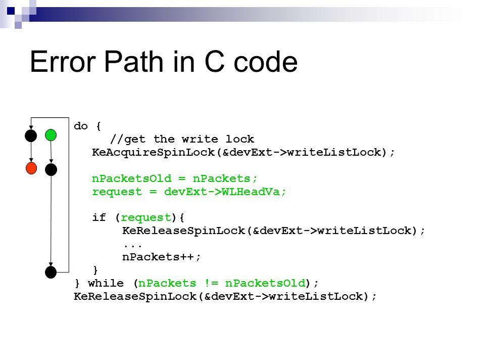 Error Path in C code do { //get the write lock KeAcquireSpinLock(&devExt->writeListLock); nPacketsOld = nPackets; request = devExt->WLHeadVa; if (requ