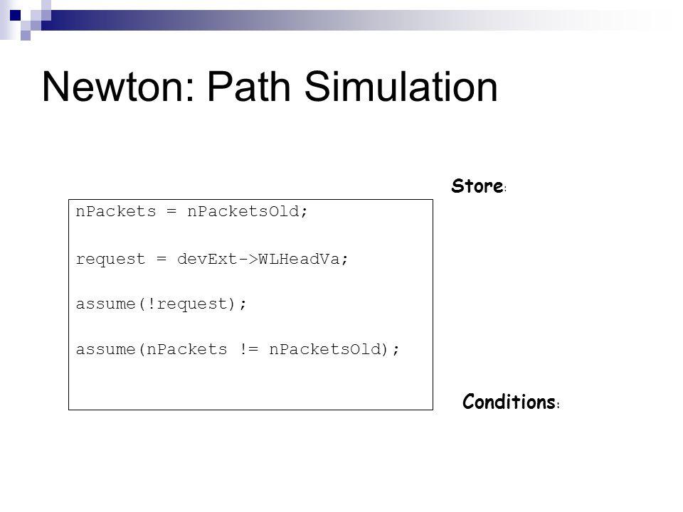 Newton: Path Simulation Store : Conditions : nPackets = nPacketsOld; request = devExt->WLHeadVa; assume(!request); assume(nPackets != nPacketsOld);