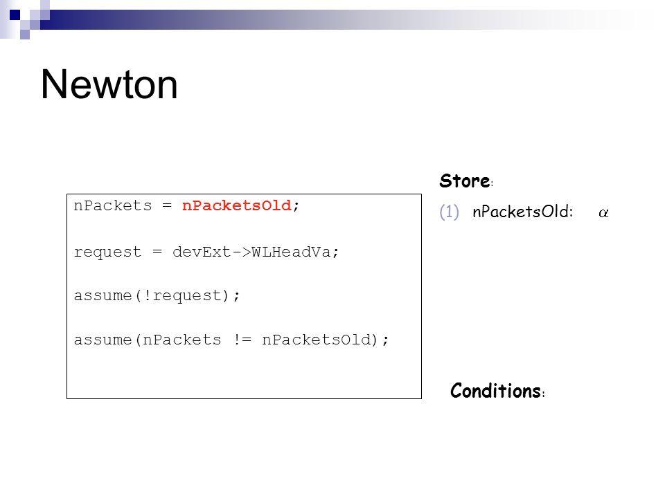 Newton Store : (1)nPacketsOld: Conditions : nPackets = nPacketsOld; request = devExt->WLHeadVa; assume(!request); assume(nPackets != nPacketsOld);