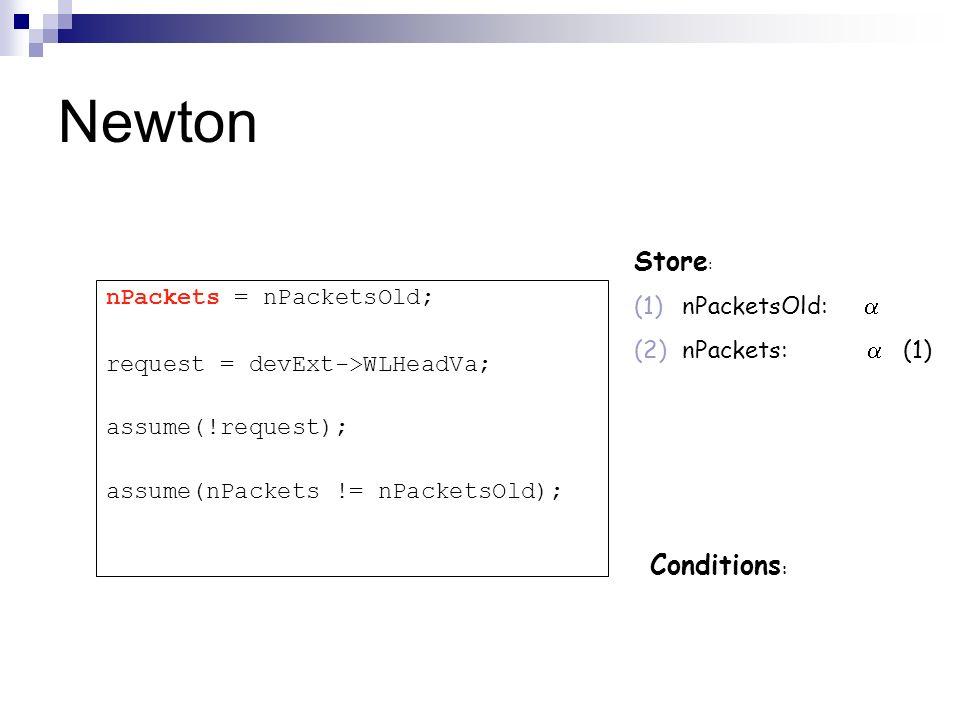 Newton Store : (1)nPacketsOld: (2)nPackets: (1) Conditions : nPackets = nPacketsOld; request = devExt->WLHeadVa; assume(!request); assume(nPackets !=