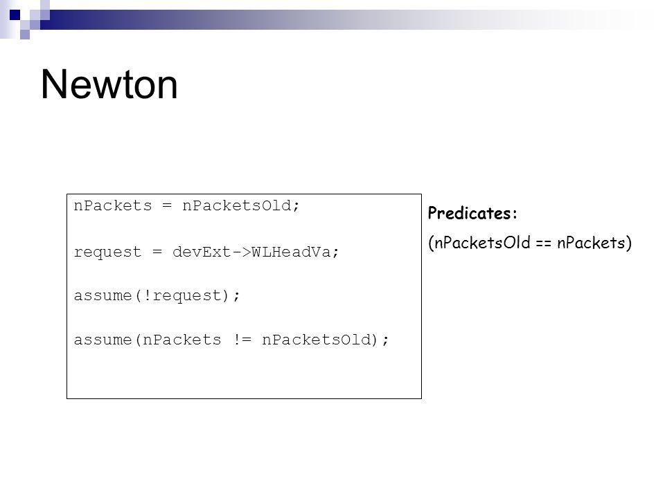 Newton Predicates: (nPacketsOld == nPackets) nPackets = nPacketsOld; request = devExt->WLHeadVa; assume(!request); assume(nPackets != nPacketsOld);