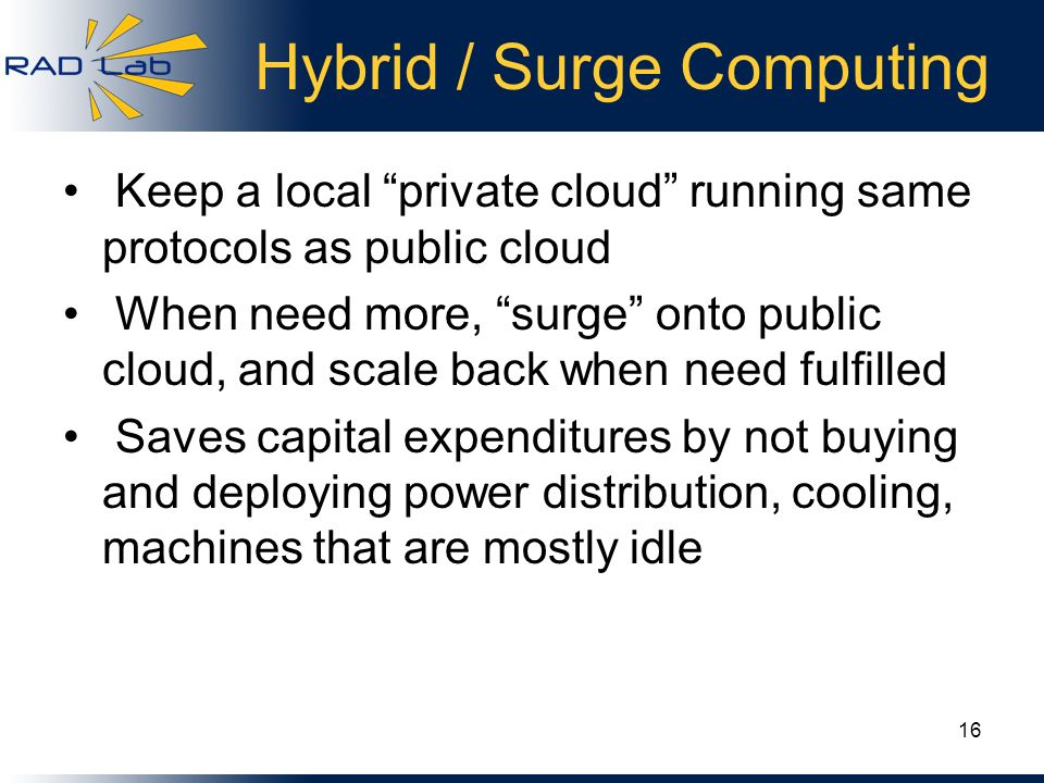 Hybrid / Surge Computing Keep a local private cloud running same protocols as public cloud When need more, surge onto public cloud, and scale back whe